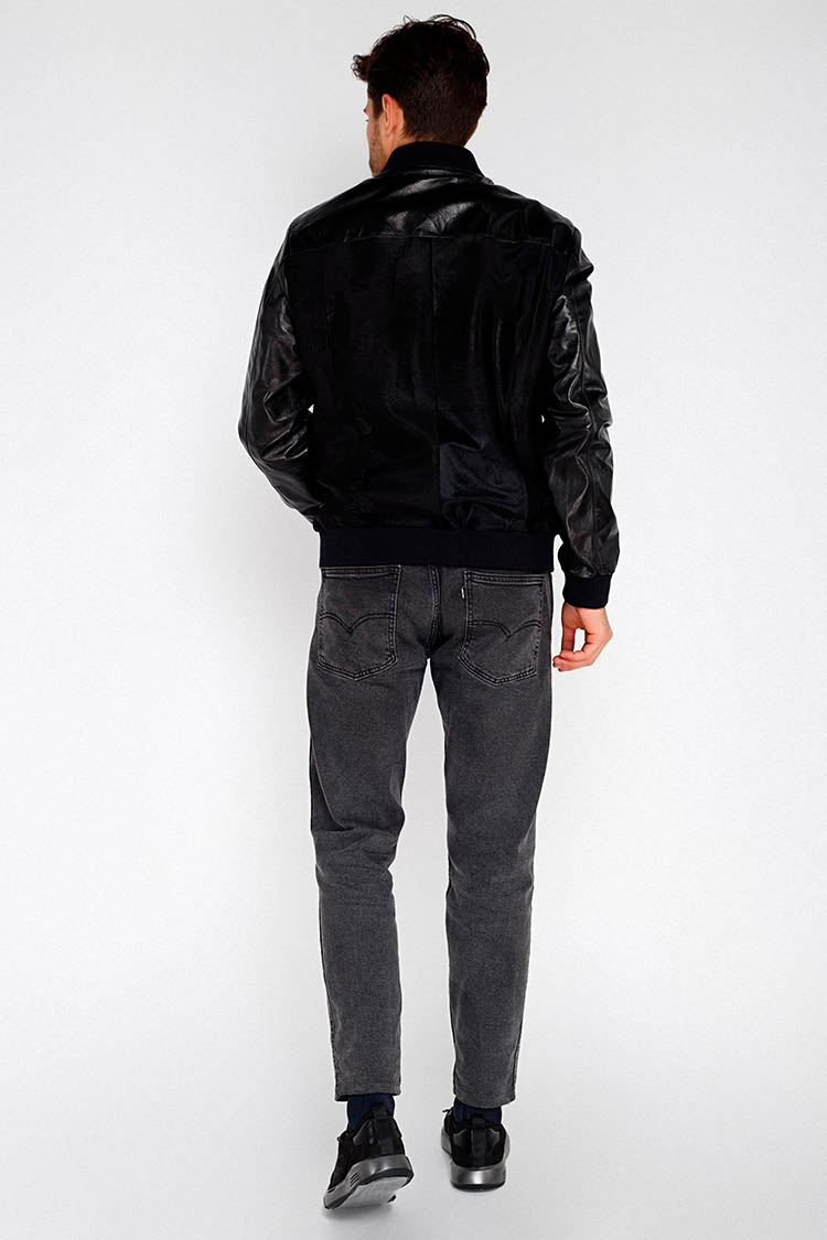 Куртка чоловіча з натуральної шкіри чорна, модель PP-03
