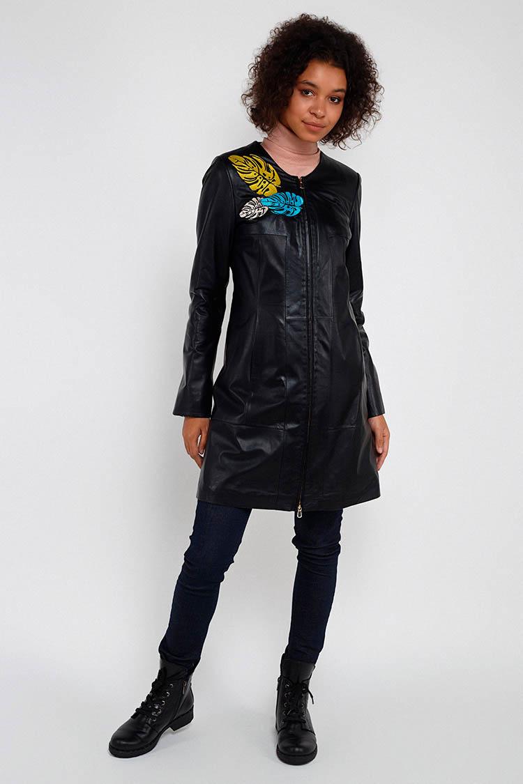Куртка женская из натуральной кожи черная, модель B-1136/1