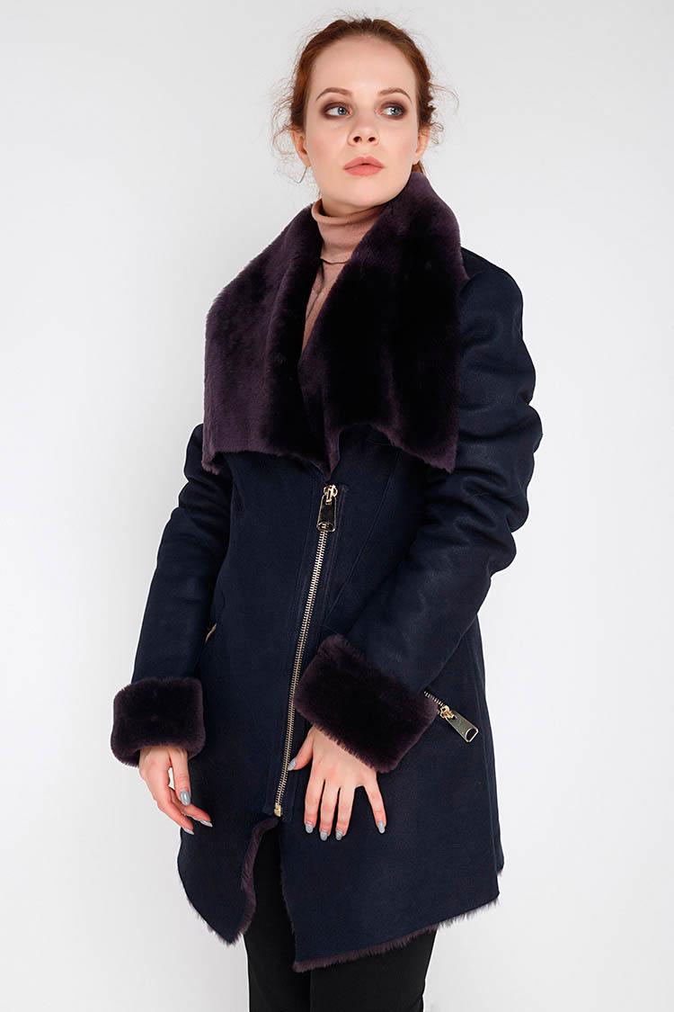 Дубленка женская из натуральной овчины синяя, модель 916
