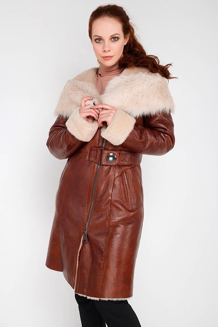 Купити дублянку жіночу з натурального хутра вівці коричневу 2086377a51dd7