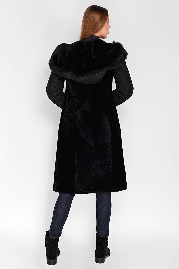 Дубленка женская из натуральной овчины черная, модель 9810