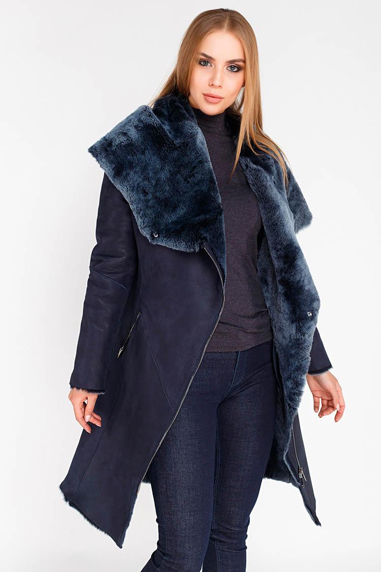 Дубленка женская из натуральной овчины синяя, модель 9750