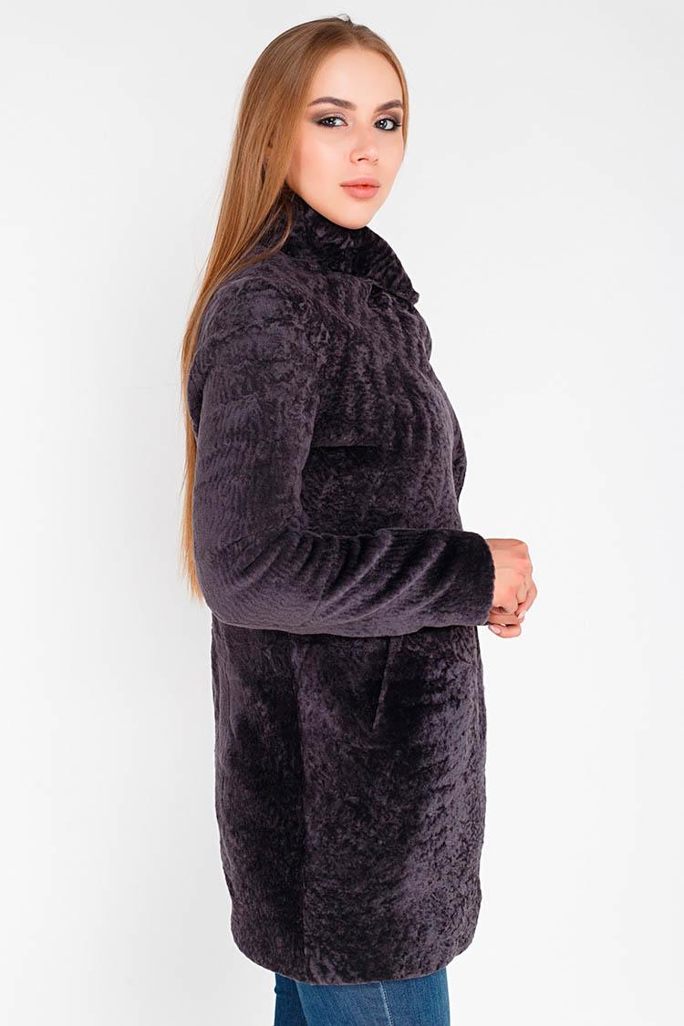 Шуба женская из астрагана фиолетовая, модель 2396