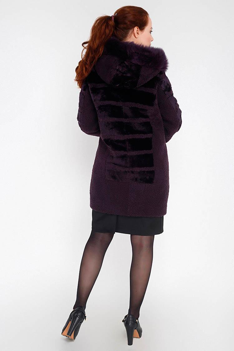 Шуба женская из кёрли фиолетовая, модель 1706