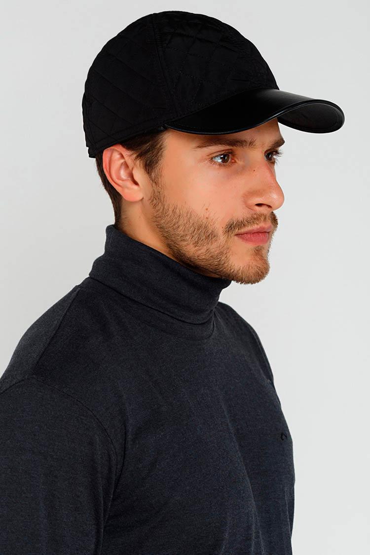 Шапка чоловіча з полиэстера чорна, модель бейсболка/подкладка