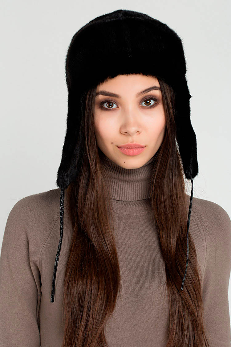 Шапка женская из норки черная, модель ушанка