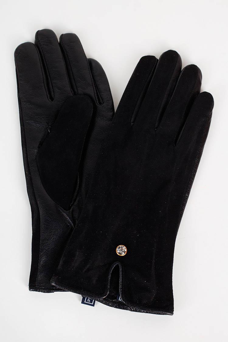Перчатки женские из натуральной кожи черные, модель 1656