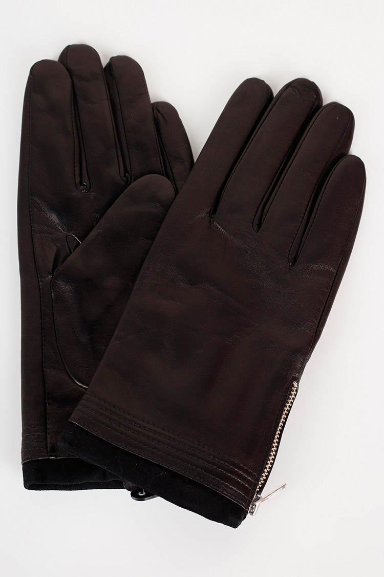 Перчатки женские из натуральной кожи черные, модель 14156