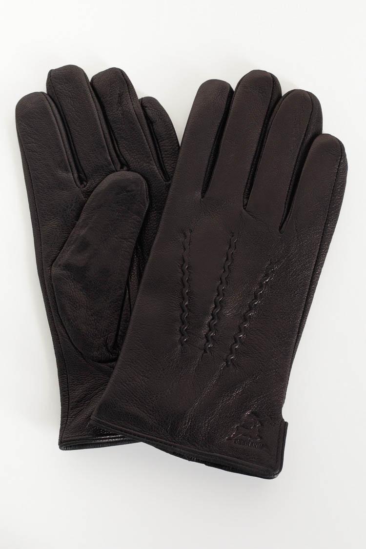 Перчатки мужские из натуральной кожи черные, модель 2143