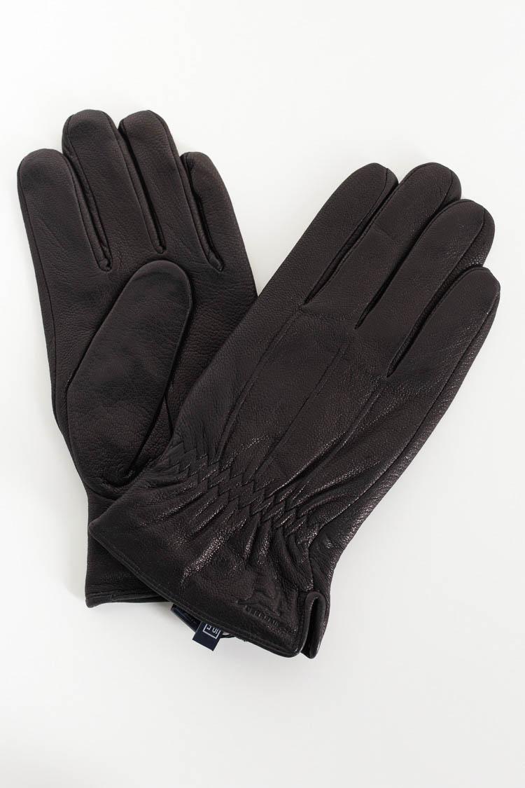 Перчатки мужские из натуральной кожи черные, модель FL-5