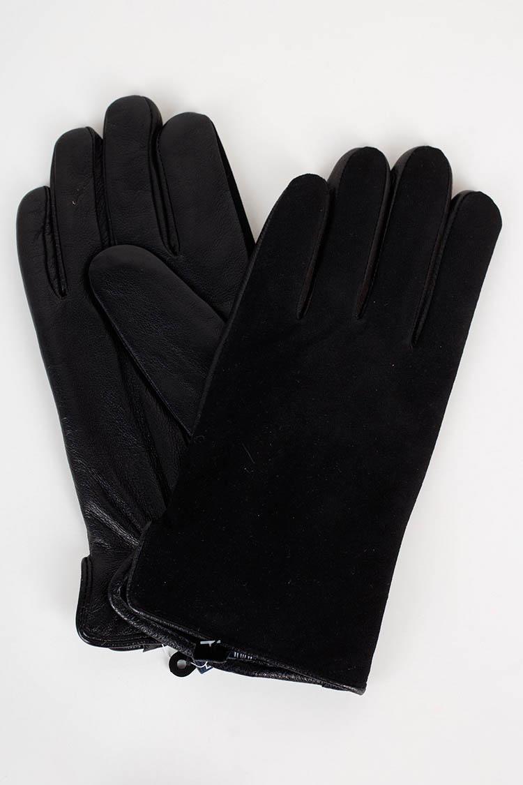 Перчатки мужские из натуральной кожи черные, модель GM-06-1