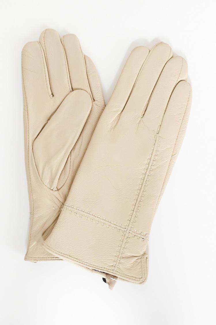 Перчатки женские из натуральной кожи бежевые, модель L-1754
