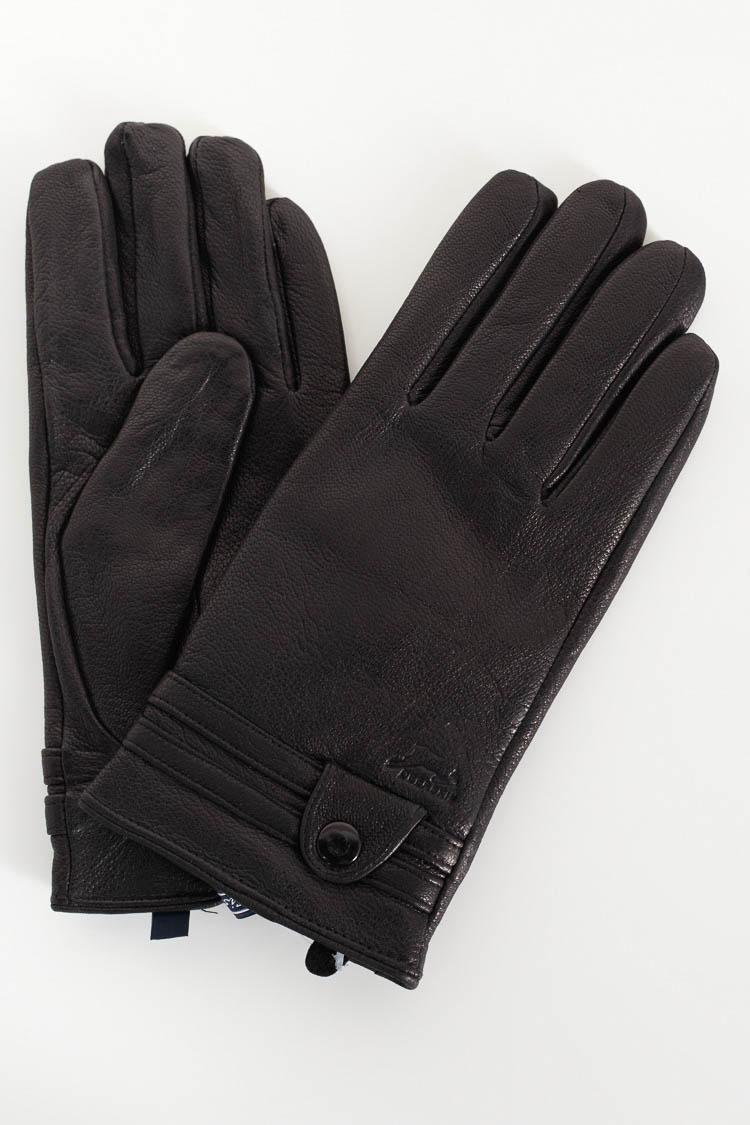 Перчатки мужские из натуральной кожи черные, модель FV-4