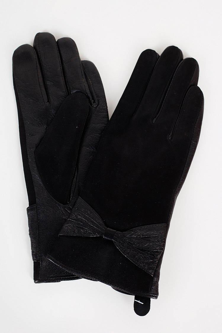 Перчатки женские из натуральной кожи черные, модель 1663