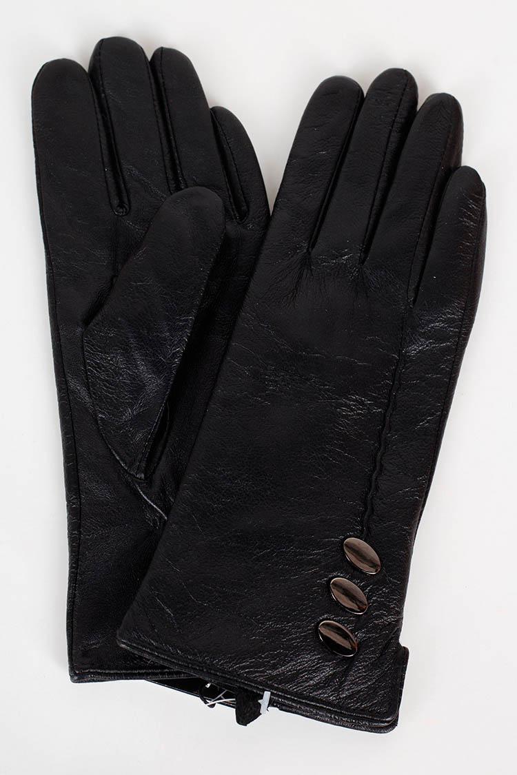Перчатки женские из натуральной кожи черные, модель 0628