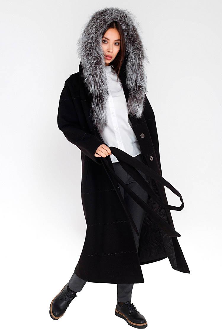 Пальто женское из кашемира черное, модель M-5023