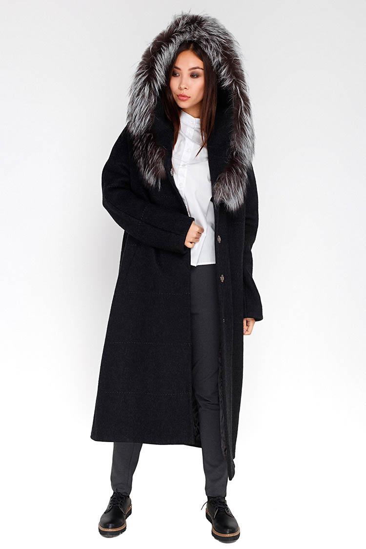 Пальто женское из шерсти серое, модель M-5023