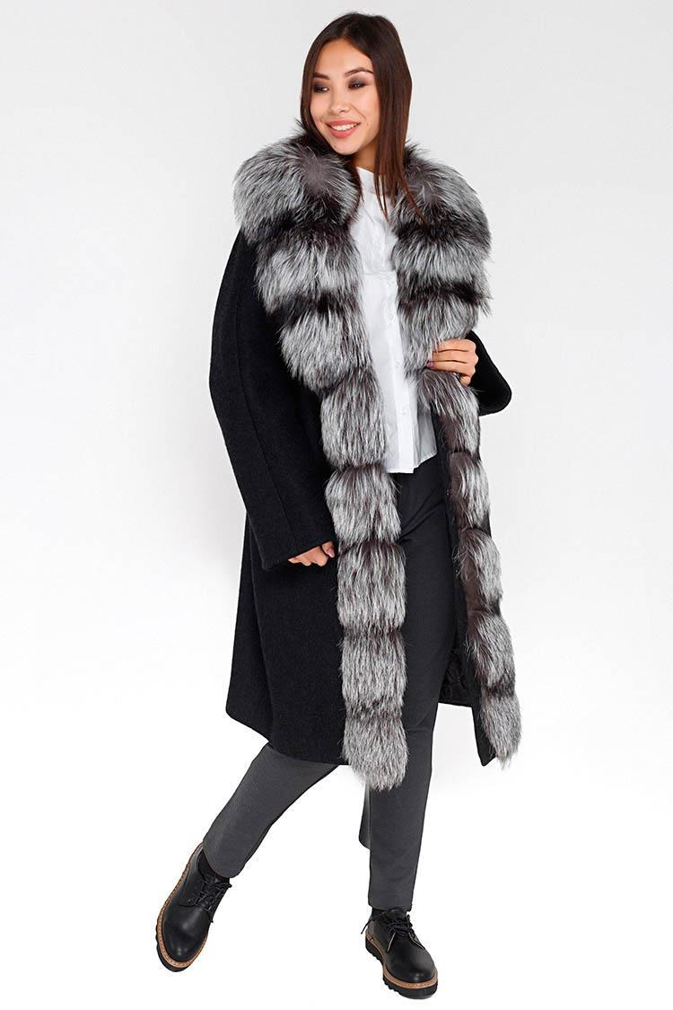Пальто женское из шерсти серое, модель M-5021