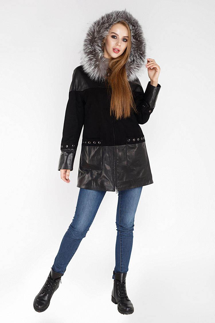Куртка женская из натуральной кожи черная, модель M-781