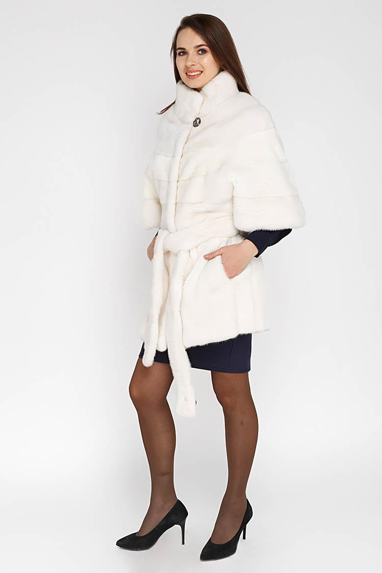 Шуба женская из норки белая, модель 5028/85