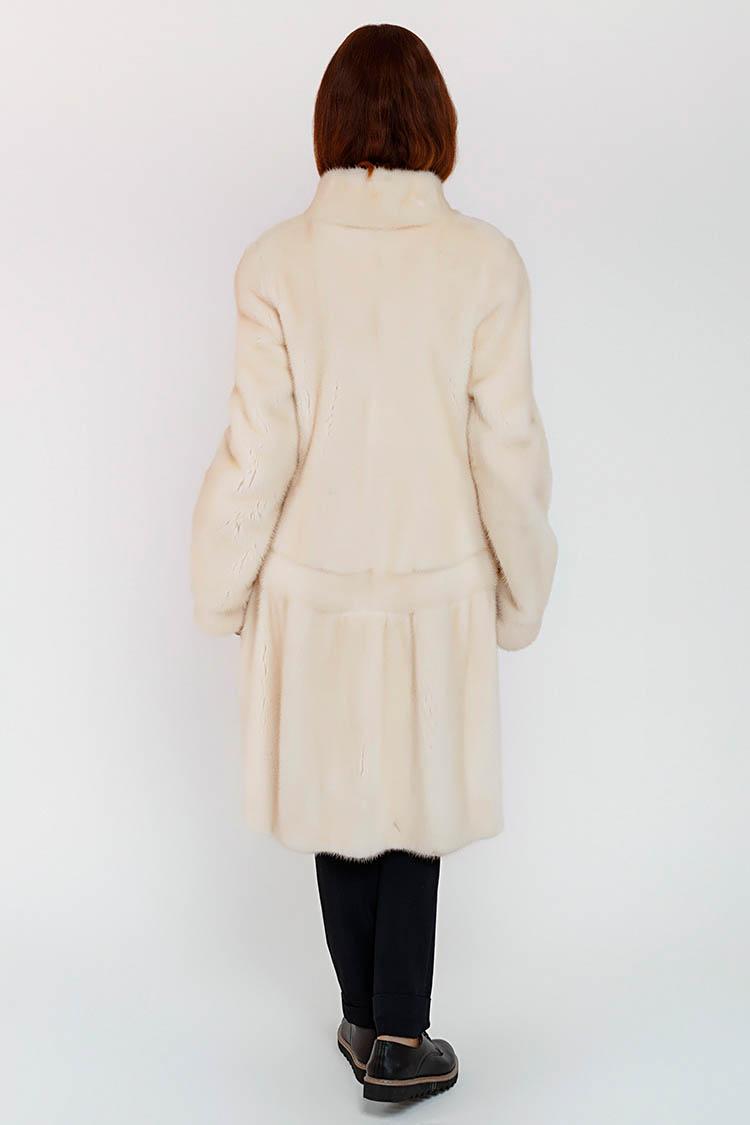 Шуба женская из норки белая, модель 273/100
