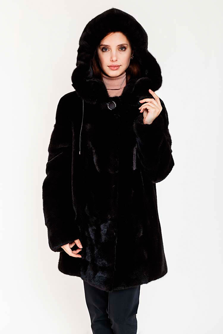 Шуба женская из норки черная, модель 1463/80/KPS