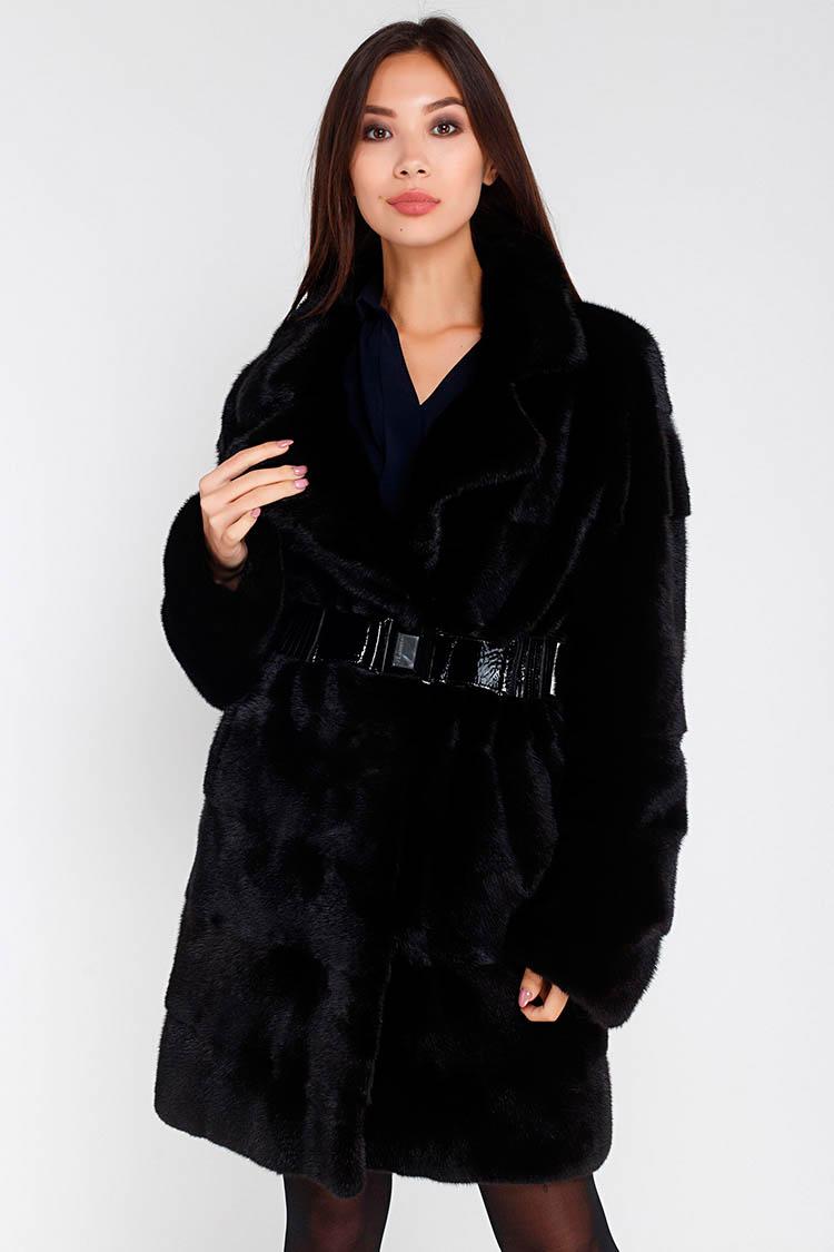 Шуба женская из норки черная, модель EXL434/90
