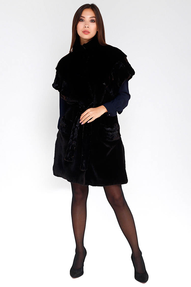 Жилет женский из норки черный, модель TRIKI/90