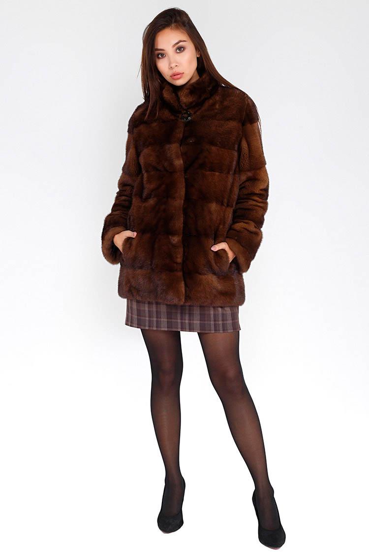 Шуба женская из норки коричневая, модель MISI/70