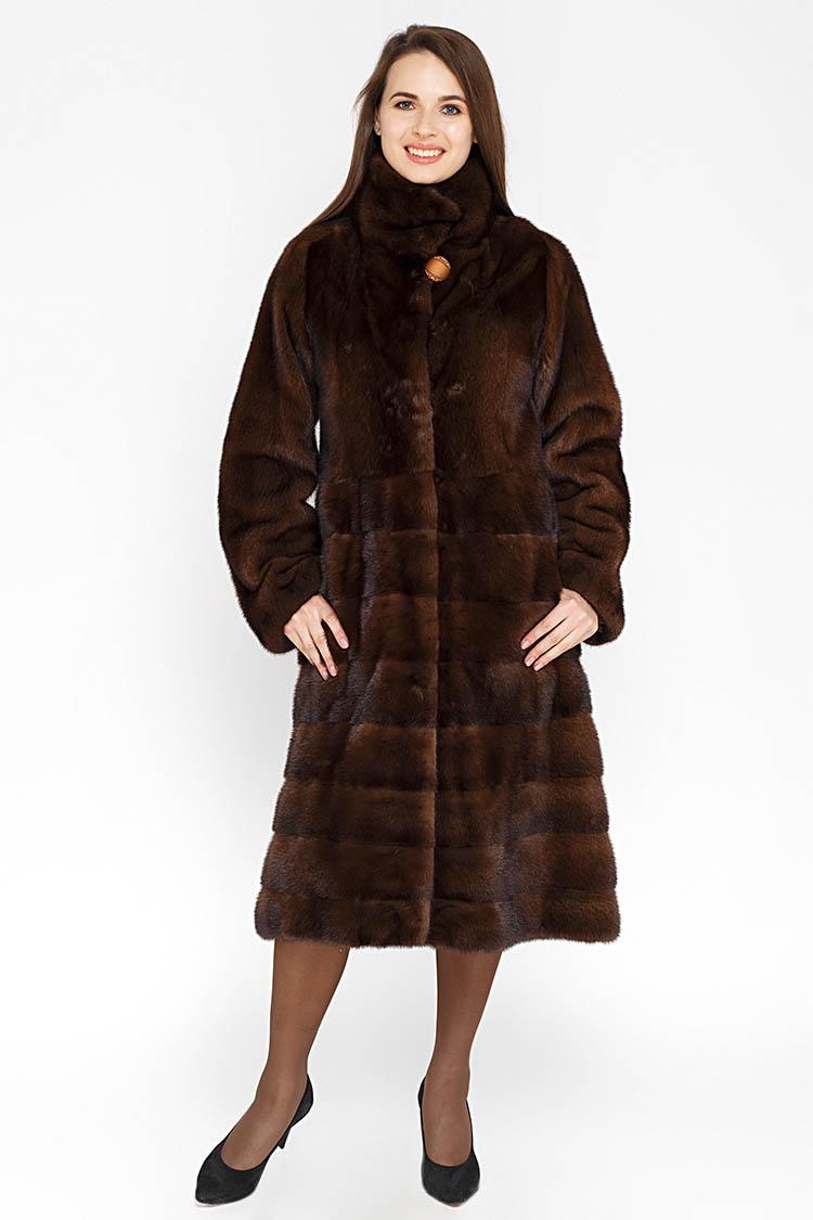 Шуба женская из норки коричневая, модель PIEZZA B/110