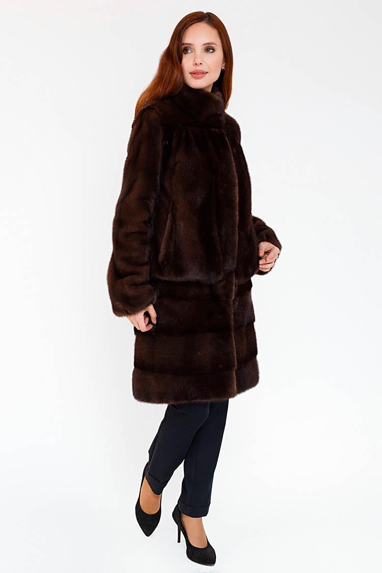 Шуба женская из норки brown, модель UMAN/90