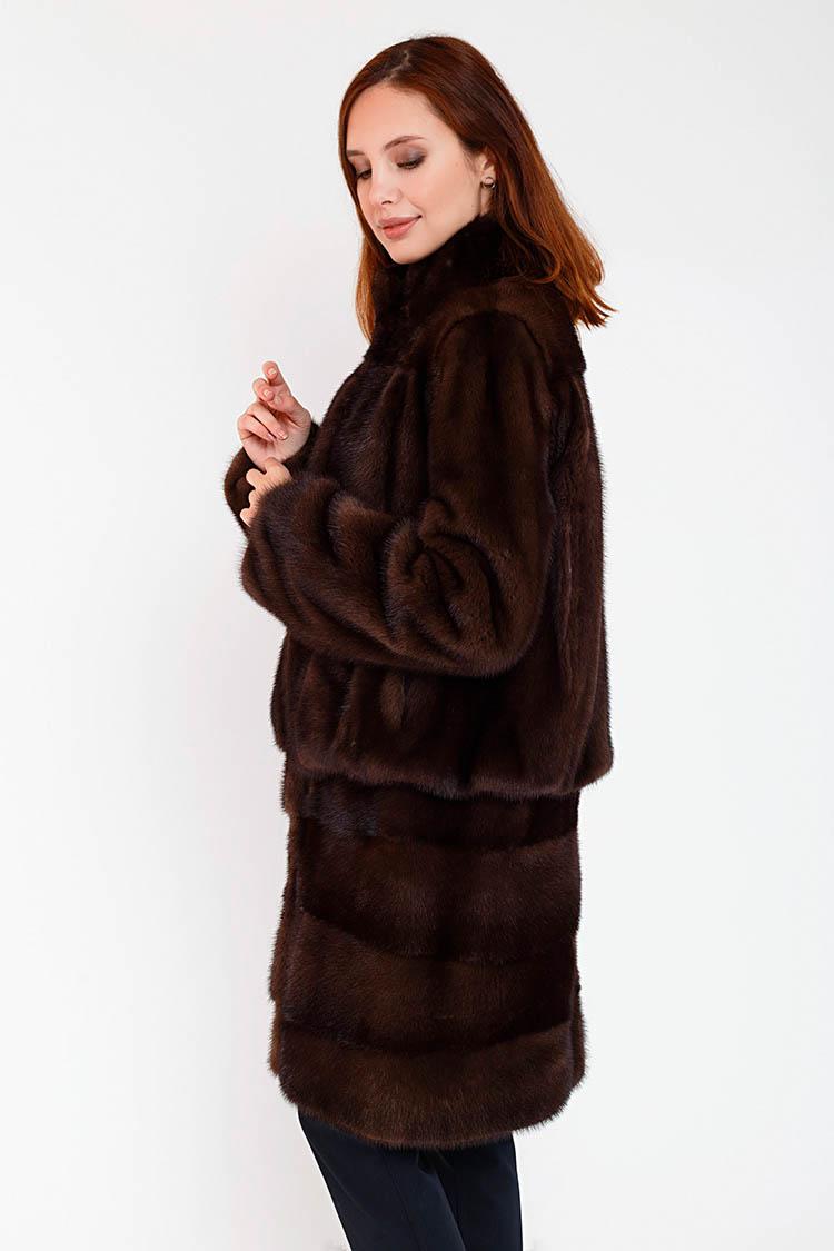 Шуба женская из норки коричневая, модель UMAN/90