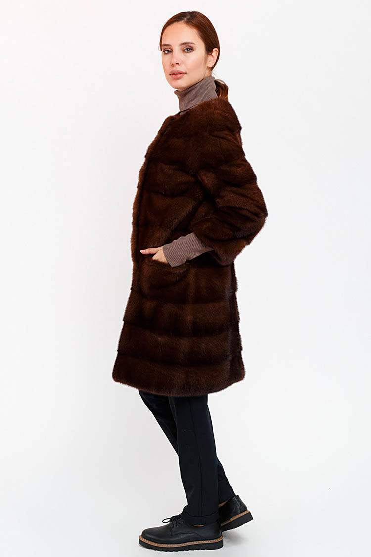Шуба жiноча з норки коричнева, модель ZOYA/90