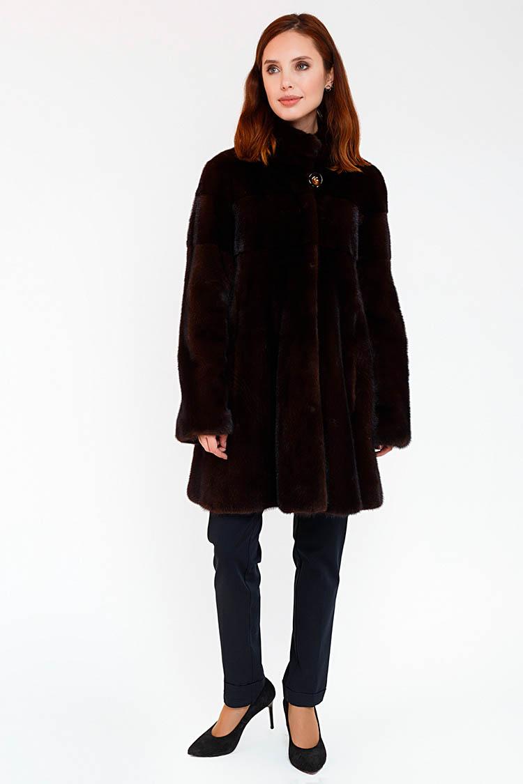 Шуба женская из норки коричневая, модель VALERI/85