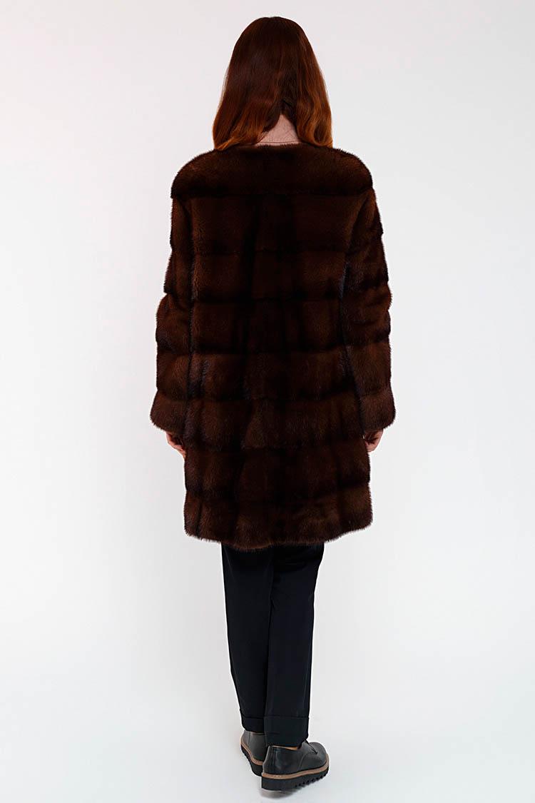 Шуба жiноча з норки коричнева, модель ZOYA/85