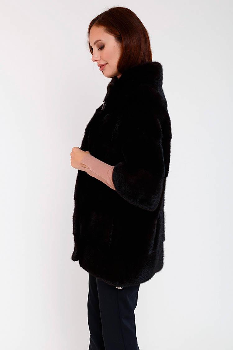 Шуба женская из норки черная, модель FIN 13/70
