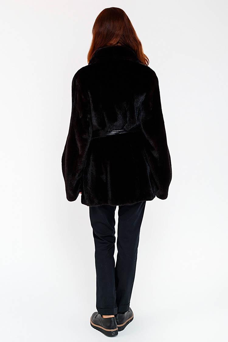 Шуба женская из норки черная, модель 1466/75