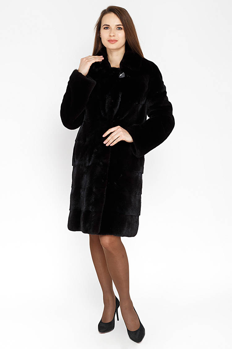 Шуба женская из норки черная, модель RAHIL/95