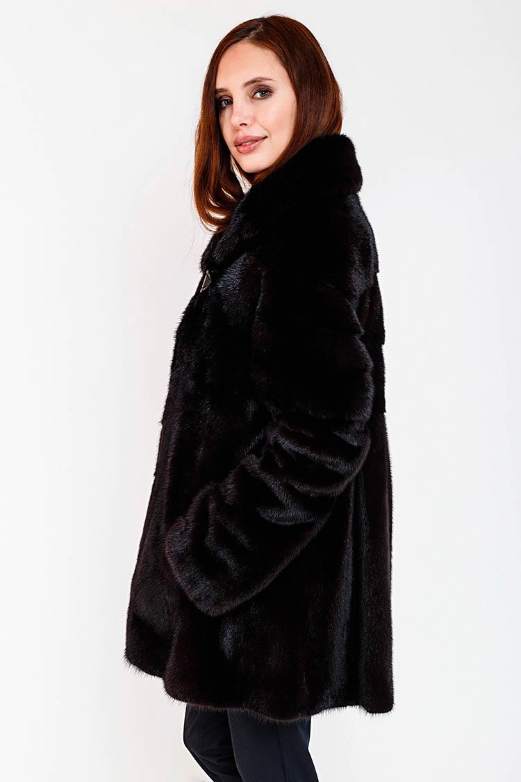 Шуба женская из норки черная, модель FIN 140/75