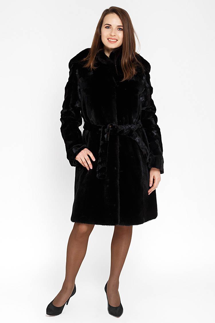 Шуба женская из норки черная, модель RIANA/95