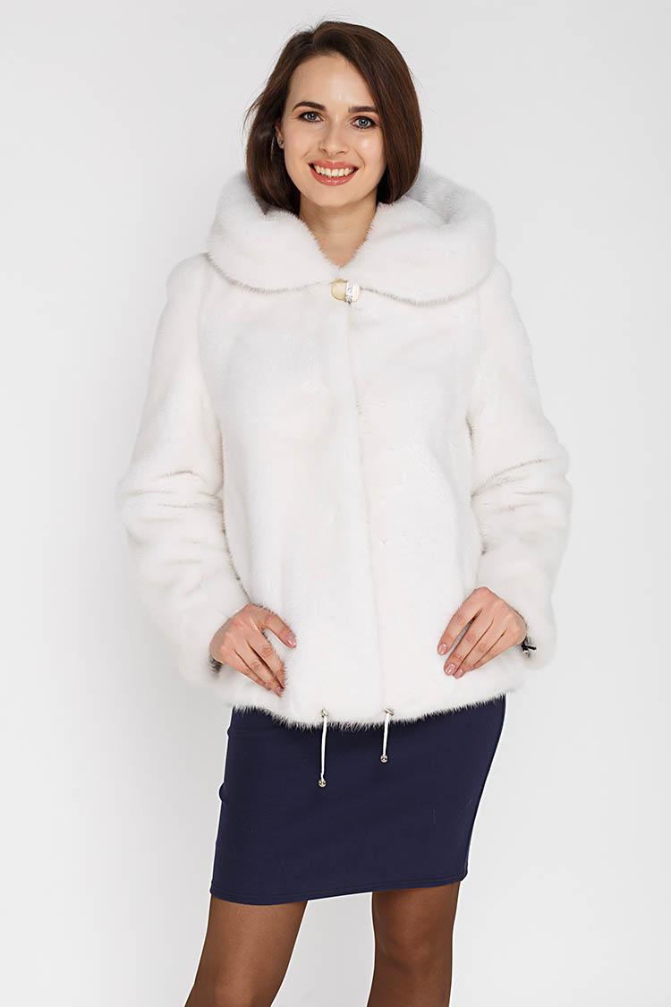 Шуба женская из норки белая, модель 1010-K/KPS/65
