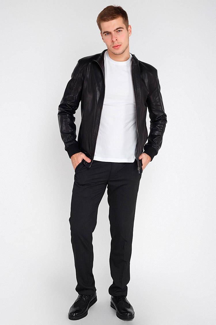 Куртка мужская из натуральной кожи черная, модель 101