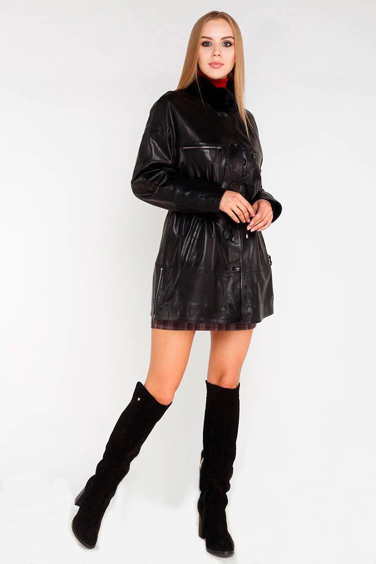 Куртка утеплена жiноча з натуральної шкіри чорна, модель M-777