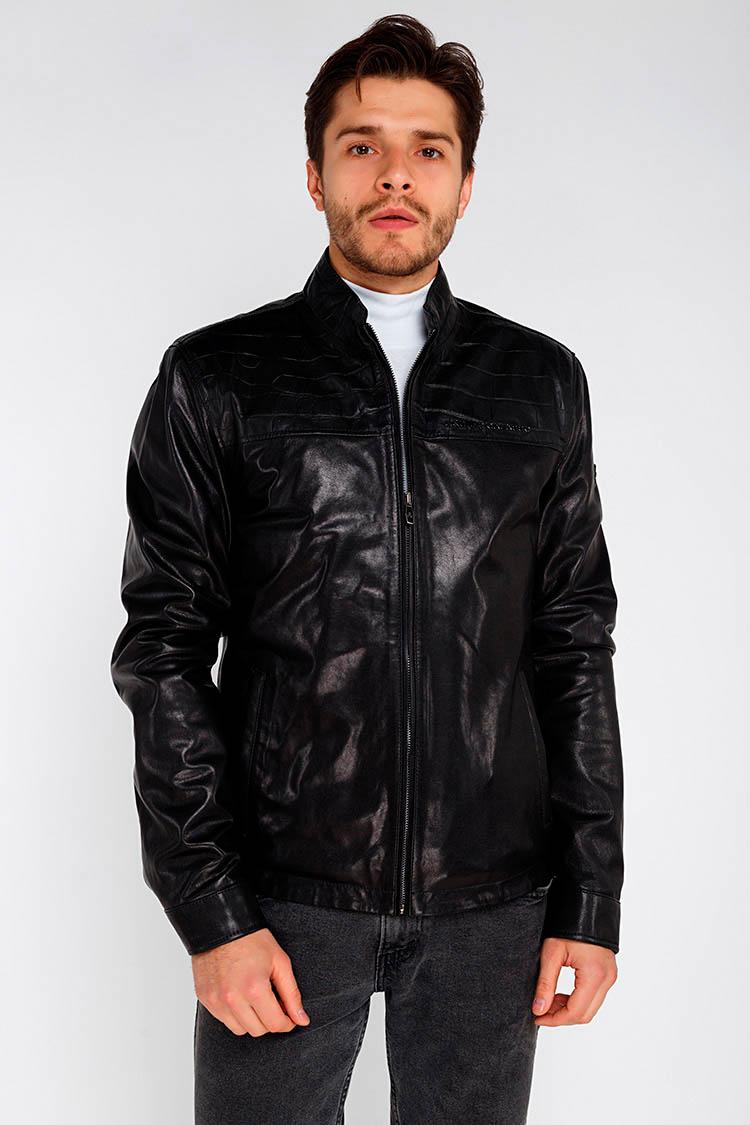 Куртка чоловіча з натуральної шкіри чорна, модель GALASSO