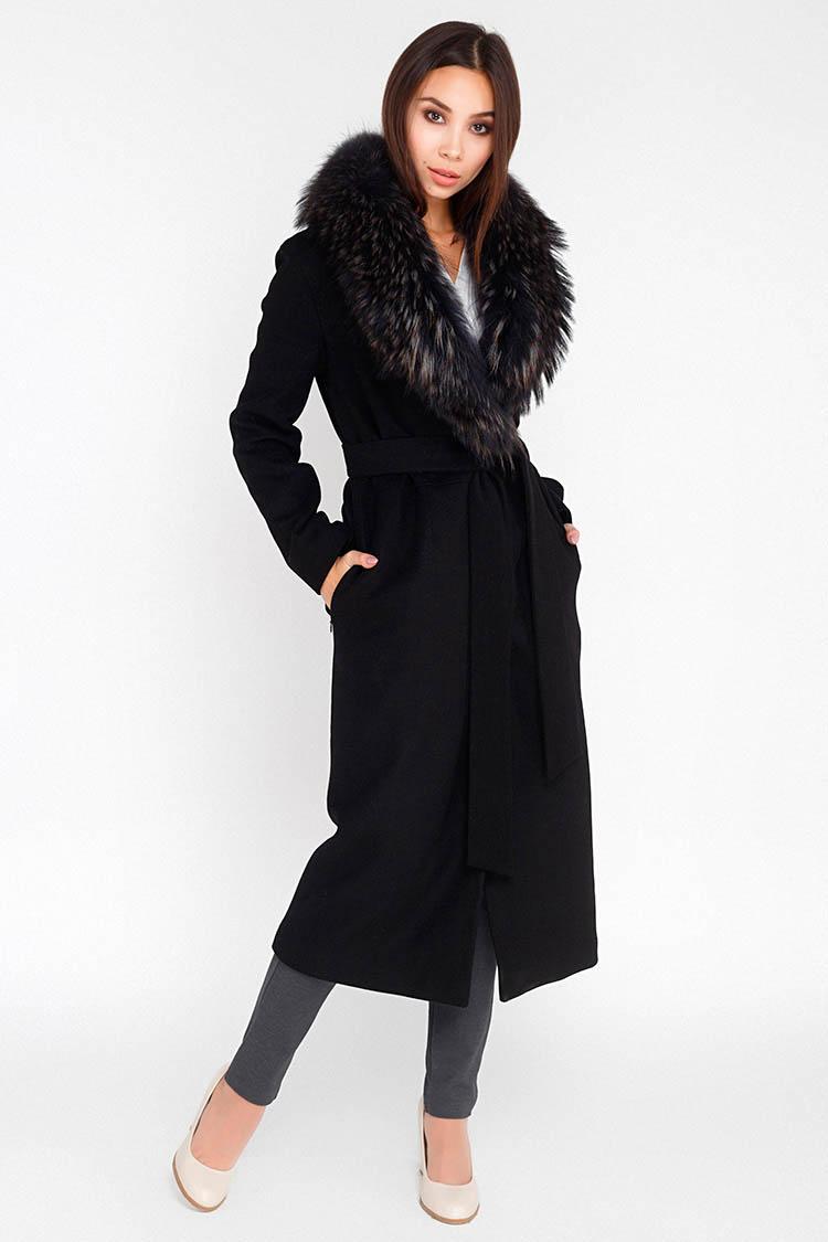 Пальто женское из кашемира черное, модель M 5015