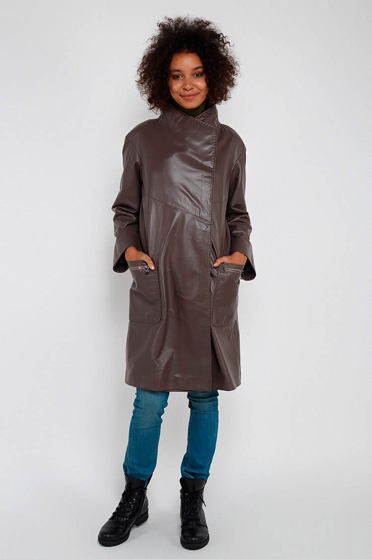 Куртка жiноча з натуральної шкіри сiра, модель DC-1652