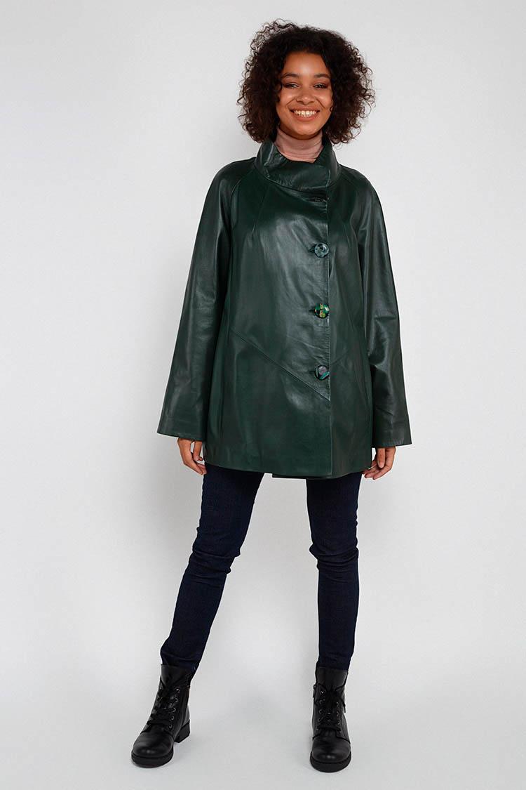 Куртка женская из натуральной кожи зеленая, модель DC-1524