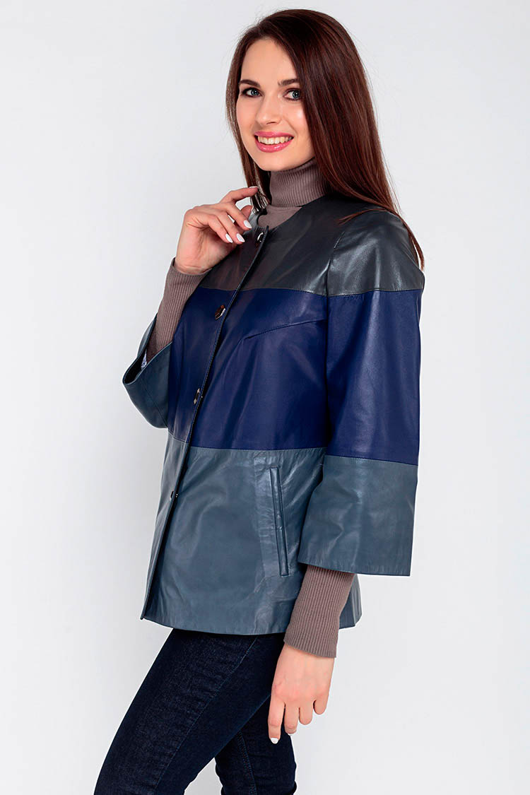 Куртка женская из натуральной кожи мультиколор, модель 16029