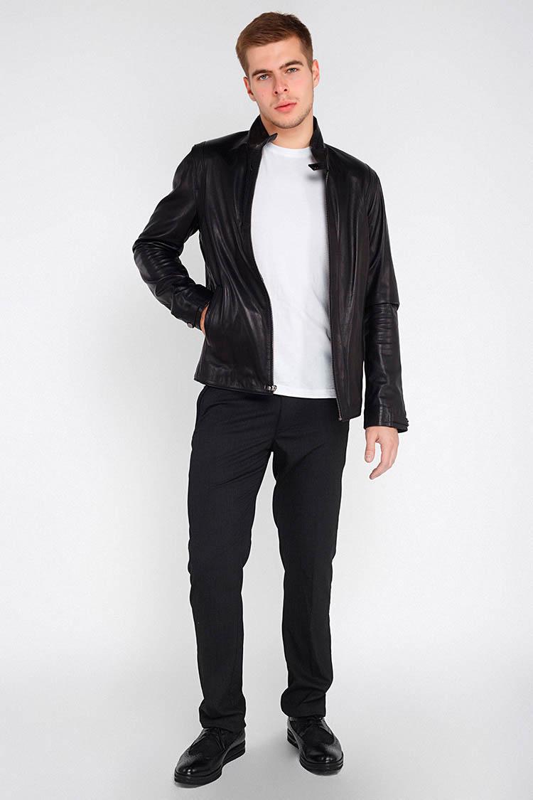 Куртка мужская из натуральной кожи черная, модель 1721