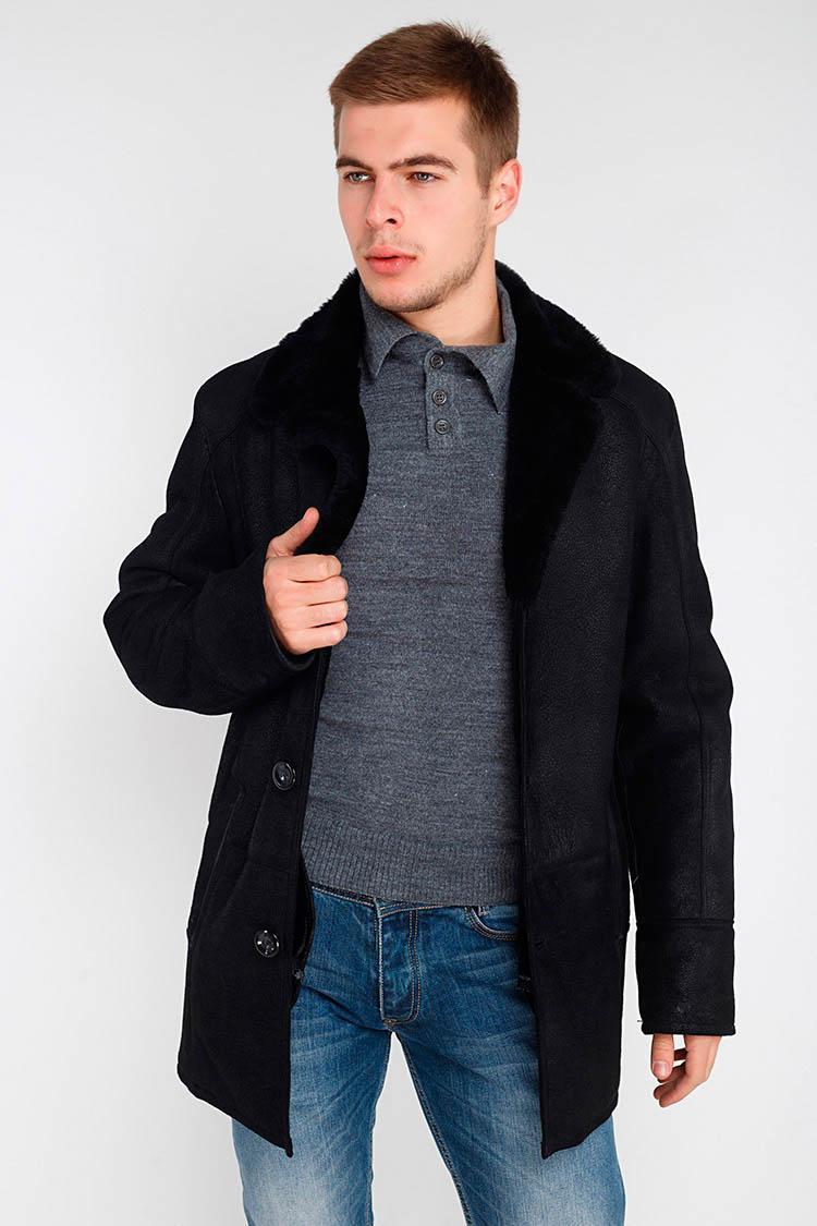 Дублянка чоловіча з натурального хутра вівці чорна, модель 2013
